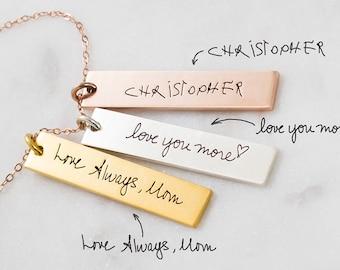 Handwriting Bar Necklace • Custom Actual Handwriting Jewelry • Personalized Signature Necklace • Memorial Keepsake Jewelry • Mom Gift • NM23