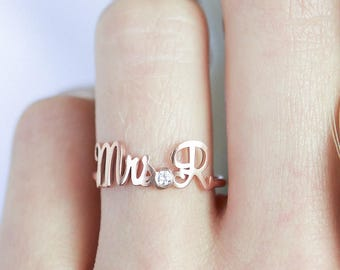 Custom Engagement Ring • Custom Name Ring with Birthstone • Future Mrs Initials Ring • Wedding Jewelry • Gemstone Wedding Ring • RM39F50