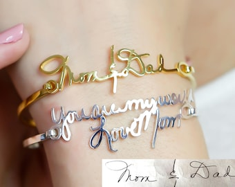 Écriture personnalisé bracelet • Signature bracelet • personnalisé écriture bracelet • souvenir bijoux en argent Sterling • MemorialGift • BH05