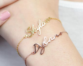 Name Bracelet • Dainty Initials Bracelet • Personalized Monogram Jewelry • Custom Children Name Bracelet for Mom • Bridesmaid Gift • BH01F44