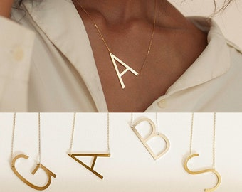 Sideways Initial Necklace • Large Initial Necklace • Oversized Letter Necklace • Monogram Necklace • Bridesmaids Gifts • NM40F39