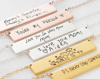 Handwriting Jewelry • Engraved Actual Handwriting Necklace • Keepsake Necklace • Custom Signature Jewelry • Personalized Gift for Her • NM22