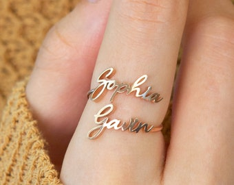 Double Name Ring • Two Name Ring in Sterling Silver, Gold and Rose Gold • Personalized Gift For Mom • Best Friend Gift • RM75F68