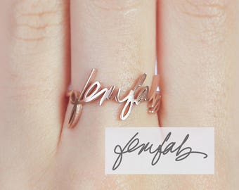Keepsake Gift Personalized Anniversary Gift Gift for Him Custom Actual Handwriting Ring Signature Engraved Ring Wedding Bands