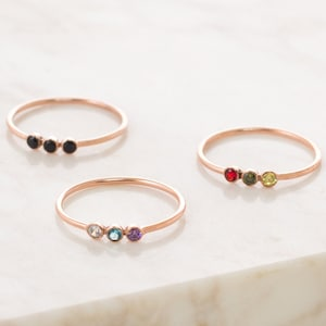 Mother Daughter Jewelry Birthstone Rings for mom mom Ring Personalized BOCIOL Silver-Plated Mothers Day Rings Birthstone Purity Rings for mom