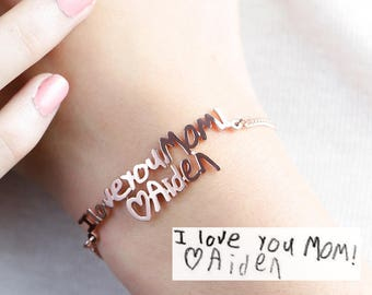 Kid's Handwriting Bracelet • Personalized Meaningful Gift for Mom • Custom Children Signature Jewelry • Personalized Gift for Grandma • BH01
