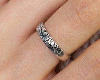 Fingerprint Ring \u2022 Real Fingerprint Jewelry \u2022 Couple Bands \u2022 Wedding Band \u2022 Bridesmaids Gift \u2022 Anniversary Gift \u2022 Couple Gift \u2022 Gift for Her
