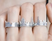 Custom City Ring • Cityscape Ring • Travel Ring • Skyline Ring • Statement Ring • Friendship Ring • Personalized Gift • Wedding Gift •  RM41