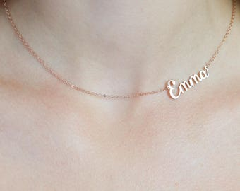 42002906e Sideways Name Necklace • Asymmetrical Jewelry • Custom Statement Name  Necklace • Off-Centered Initial Choker • Teenager Gift • NH12F15
