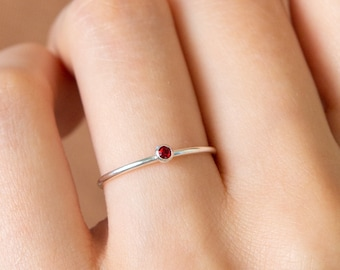 Minimalist Birthstone Ring • Gemstone Ring in Sterling Silver • Dainty Birthstone Ring • Stacking Ring • Gifts for Mom • RM45