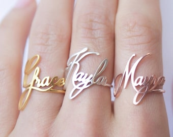 Custom Name Ring • Children Name Ring • Sterling Silver Ring • Personalized Gift • Gift for Her • Baby Girl Ring • Mother's Gift • RM02F18