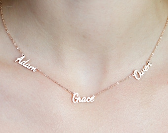 Dainty Triple Name Necklace • Children 3 Names Necklace • Custom Three Names Family Necklace • Friendship Necklace • New Mom gift • NH06F47
