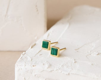 statement pins geometric jewelry Half moon earrings with malachite sterling silver handmade Birthday gifts for her