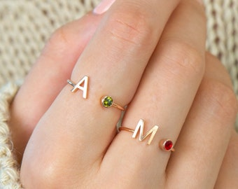 Custom Initial Gemstone Ring • Birthstone Ring • Name Ring • Adjustable Letter Ring • Personalized Gifts • Bridesmaids Gifts • RM06F30