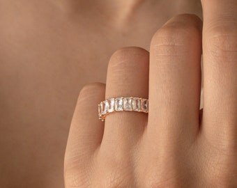 COLETTE Ring in Gold by Caitlyn Minimalist • Baguette Eternity Band • Engagement Ring • Wedding Ring • Bold Stacking Ring • RR024