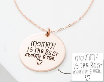 Custom Handwriting Necklace • Actual Handwriting Circle Charm Necklace • Keepsake Jewelry • Memorial Signature Necklace • Mom Gift • NM20