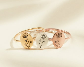 Bridesmaid Gifts • Gifts for Mom • Birth Flower Ring • Floral Signet Ring • Flower Jewelry • Summer Jewelry • Birthday Gift • RM52a