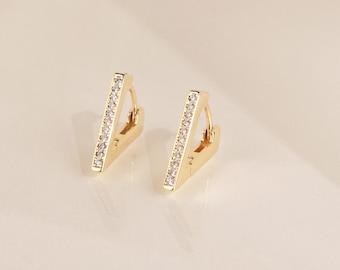 EZRA Triangle Earrings • Pave Triangle Huggie Hoops • Modern Geometric Earrings, Perfect for Your Minimalist Look • ER009