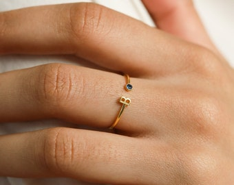 Initial Birthstone Ring • Letter Ring by Caitlyn Minimalist • Mothers Ring • Birthday Gifts • Bridesmaid Gifts  • RM74F39
