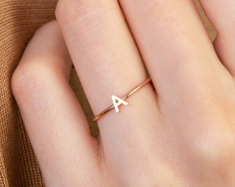 personalized ring 1mm band. sterling silver GOLD or ROSE gold filled letter ring SILVER personalized initial ring minimalist ring