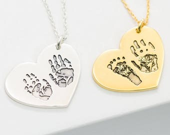 Baby FootPrint Necklace • Engraved FingerPrint Necklace • Handprint Art Jewelry • New Mom Baby Keepsake Gift • Baby Announcement Gift • NM32