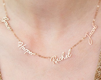 Bridesmaid Gifts  for Mom • Family Necklace • Multiple Name Necklace • Custom Children Name in Sterling Silver • New Grandma Gift • NH05F68