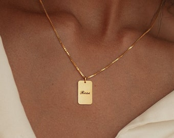 Dainty Name Tag Necklace with Box Chain • Initial Tag Necklace by CaitlynMinimalist • Gift for Her • NM74F62