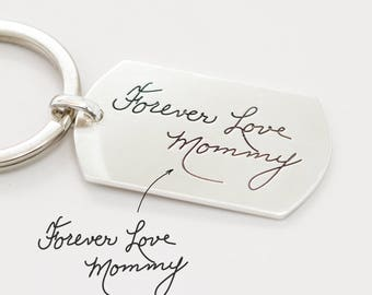 Personalized Gift for Dad • Handwriting Keychain • Engraved Signature Dogtag • Custom Handwriting Tag • Military Dog Tag • Uncle Gift • CM26