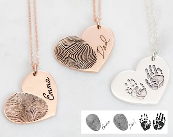 Actual Fingerprint Necklace • Engraved FingerPrint Handwriting Jewelry • Custom Heart Charm • MOTHERS DAY GIFT • Personalized Gift • NM32