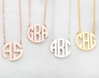 Monogramme délicat collier • bloc personnalisé monogramme initiales collier • personnalisé nom bijoux • les demoiselles d'honneur cadeaux • mariage cadeaux • NH09