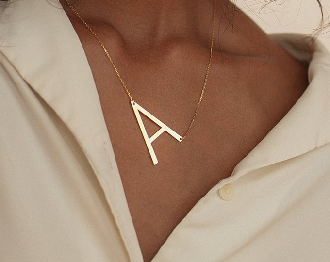 Big Letter Necklace by CaitlynMinimalist • Sideways Initial Necklace • Monogram Necklace • Bridesmaid Gifts  • NM40F39