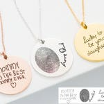Handwriting Necklace • Custom Handwriting Jewelry • Signature Disc Necklace • Fingerprint Necklace • MOTHERS GIFT • Memorial Gift • NM20