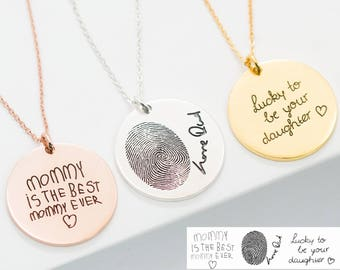 Handwriting Necklace • Custom Handwriting Jewelry • Signature Disc Necklace • Fingerprint Necklace • MOTHERS DAY GIFT • Memorial Gift • NM20