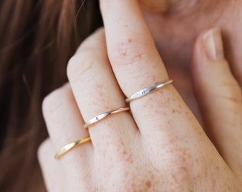 Minimal Initial Ring • Skinny Letter Ring • Custom Name Ring • Mother Ring • Stacking Ring • Bridesmaid Gifts  • RM21F77