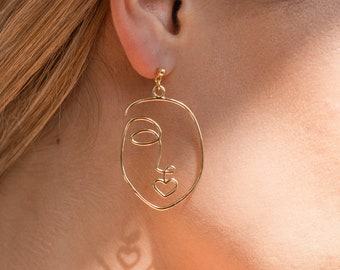 hoop or hook  beauty fashion jewellery art gift for her y2k contemporary festival Gold abstract woman face earrings