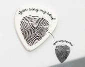 Actual Fingerprint Engraved Guitar Pick • Custom Hand Stamped Pick • Baby Fingerprint Jewelry • Dad or Music Lover Personalized Gift • CM21