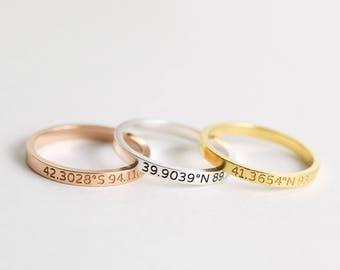 Coordinates Jewelry • Custom Location Stacking Rings • Dainty Latitude Longitude Ring • Custom Date Ring • Coordinates Ring • RM22F30