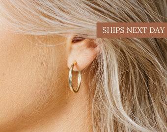 CELINE Hoops • Gold Hoop Earrings by CaitlynMinimalist • Medium Gold Hoops • Perfect Gift for Her • Bridesmaid Gifts  • ER025