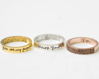 Gold Ring Mother/'s Day Gift Custom Handwriting Jewelry Memorial Engraved Gold Wedding Band Mom Gift Personalized Gift