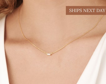 EMERY Baguette Diamond Necklace in Gold, Rose Gold, Sterling Silver by Caitlyn Minimalist • Perfect Gift for Her • NR005