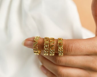 Curb Chain Name Ring by CaitlynMinimalist • Curb Link Name Ring • Custom Name Ring • Bridesmaid Gifts  • RM65F33