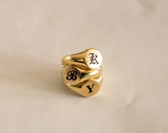 Gold Signet Ring • Initial Signet Ring • Statement Ring • Custom Initial Ring • Bridesmaid Gifts  • RM77F62