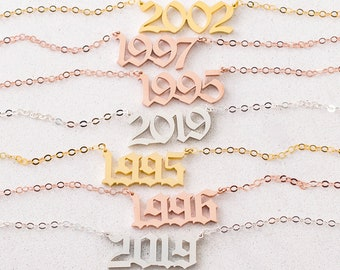 Old English Date Necklace • Custom Number Necklace • Dainty Name Necklace • Gothic Necklace • Graduation Gift • Birthday Gift • NH02F72