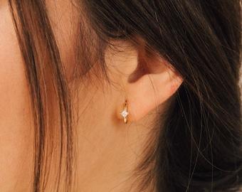 Athena Huggie Earrings by Caitlyn Minimalist • Diamond Hoops • Diamond Earrings • Minimalist Earrings • ER094