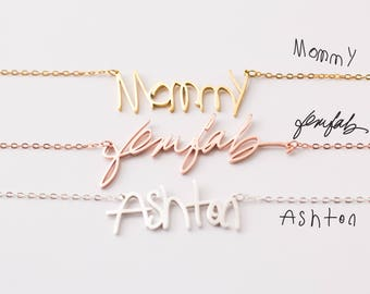 Mother Grandma Necklace • Children Handwriting Necklace • Actual Custom Handwriting Jewelry • Baby Actual Signature • Child Writing • NH01