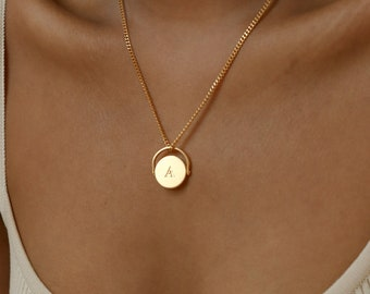 Spinner Pendant Necklace with Curb Chain by Caitlyn Minimalist • Custom Spinner Necklace • Gift for Her • NM89F33