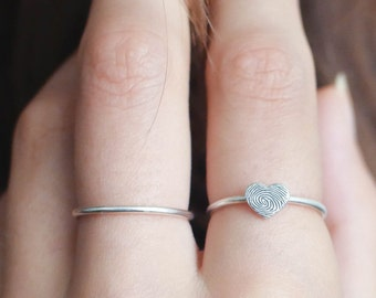 Fingerprint Ring • Dainty Fingerprint Heart Ring • Tiny Fingerprint Ring • Custom Fingerprint Jewelry • PERSONALIZED Mother Gift • RM30