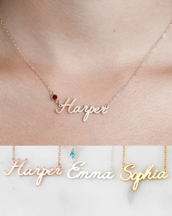 Custom Name Necklace Personalized Name Necklace Baby Girl Etsy