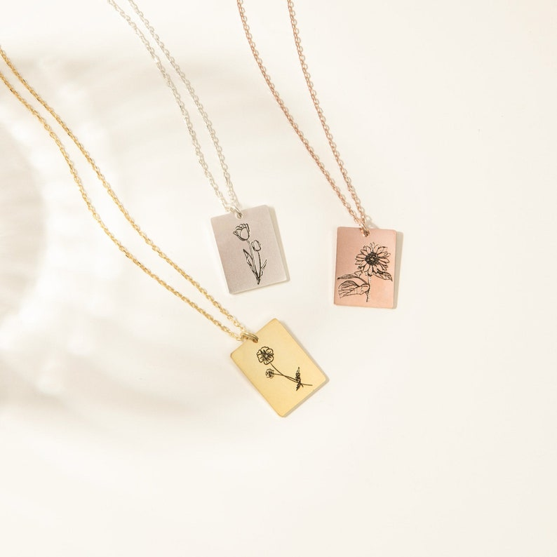 Floral Tag Necklace  Dainty Birth Flower Necklace in Sterling image 0
