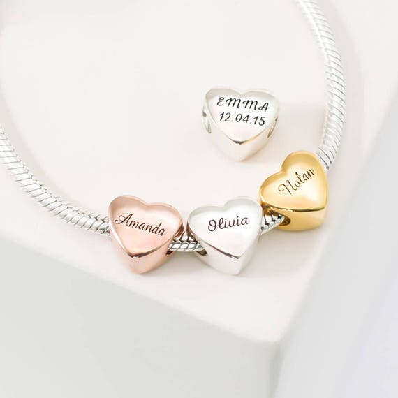 Custom Name Heart Charm Bracelet